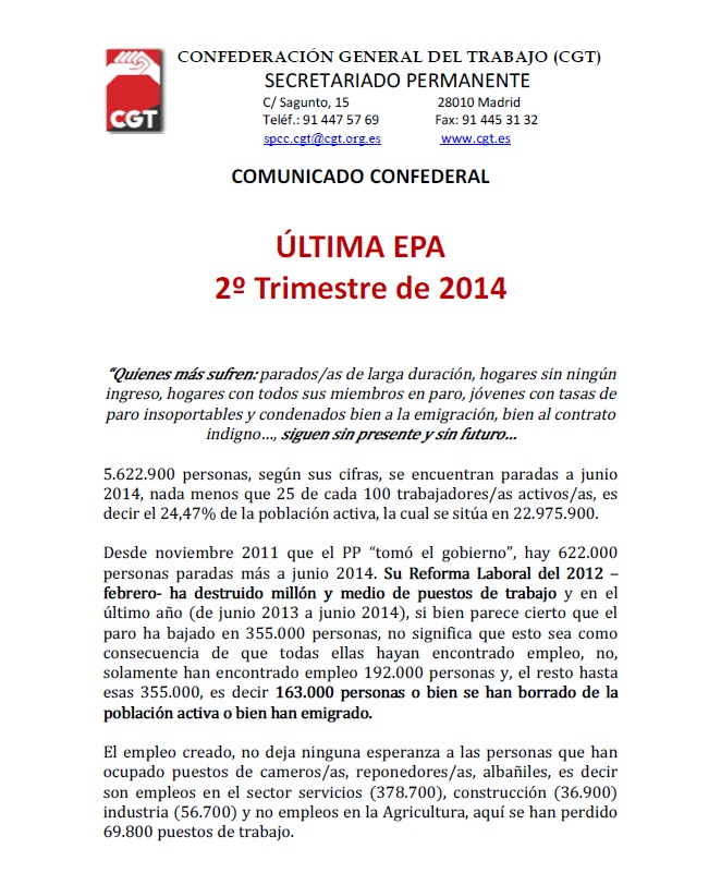 comunicado 2º trimestre de la EPA
