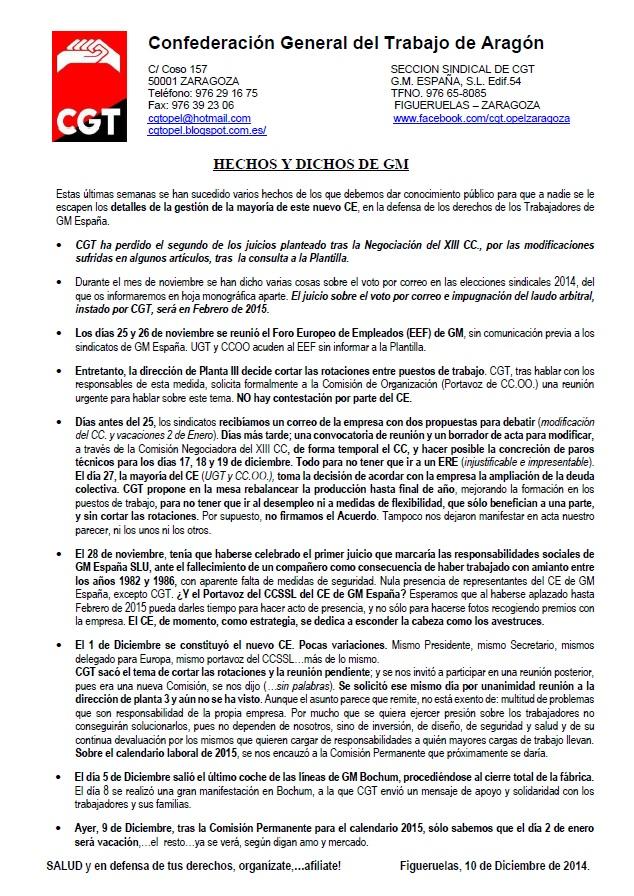 hechos y dichos de GM 11dic 2014