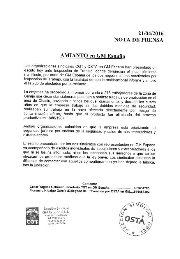 nota de prensa amianto