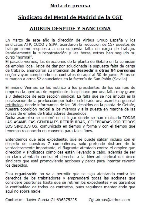 nota de prensa airbus