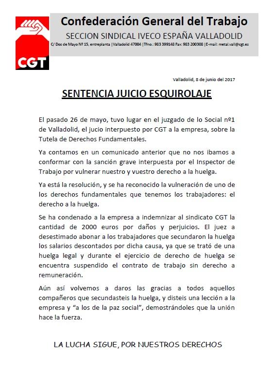 Iveco Valladlid 6 de junio (sentencia esquirolaje)