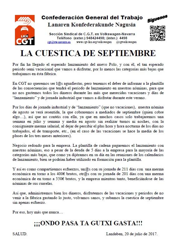 La cuestica de septiembre