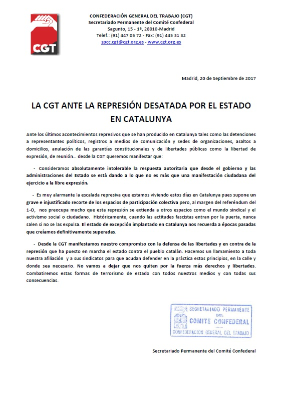 CGT ante la represión