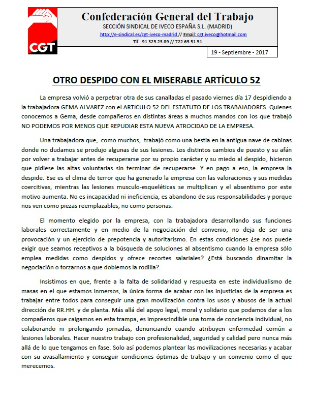 comunicado despido Iveco Madrid