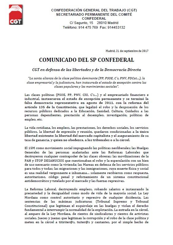 comunicado SP Confederal