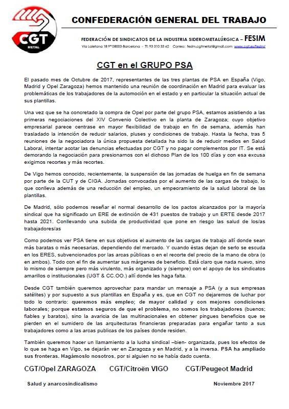 CGT en el Grupo PSA