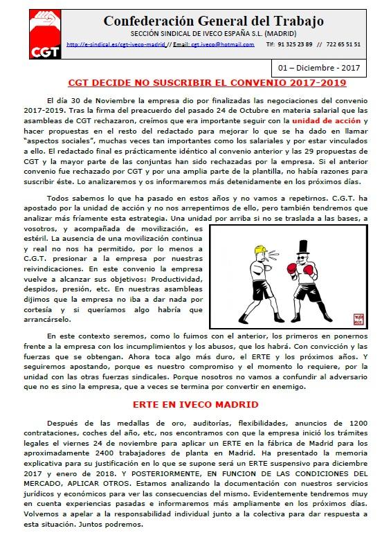 CGT DECIDE NO SUSCRIBIR EL CONVENIO 2017-2019 (iveco Madrid)