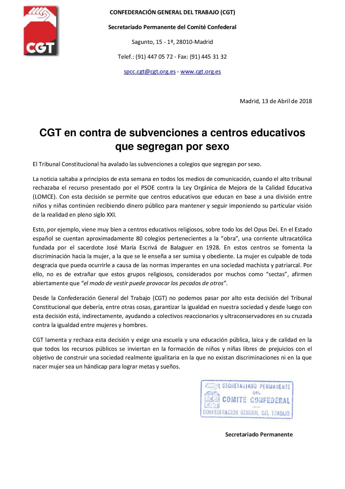 CGT en contra de subvenciones a centros educativos que segregan por sexo-001