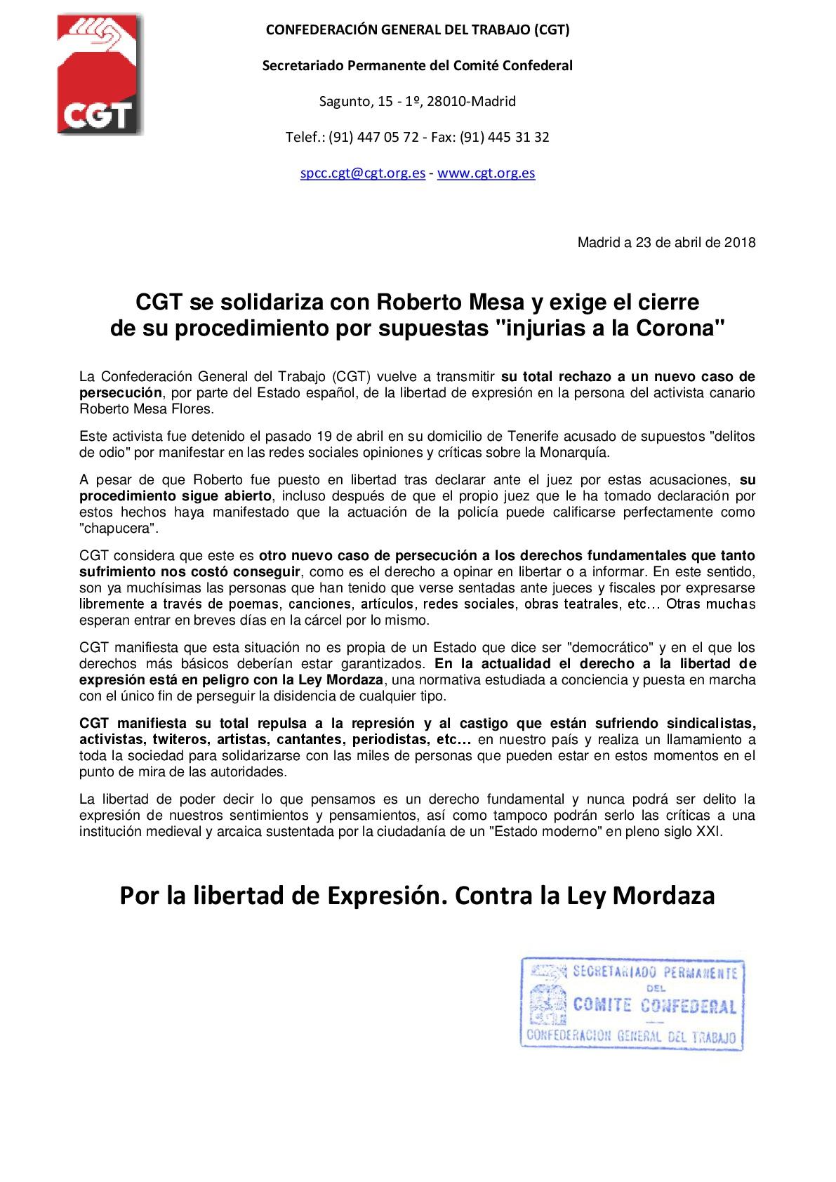 CGT se solidariza con Roberto Mesa y exige el cierre de su procedimiento-001