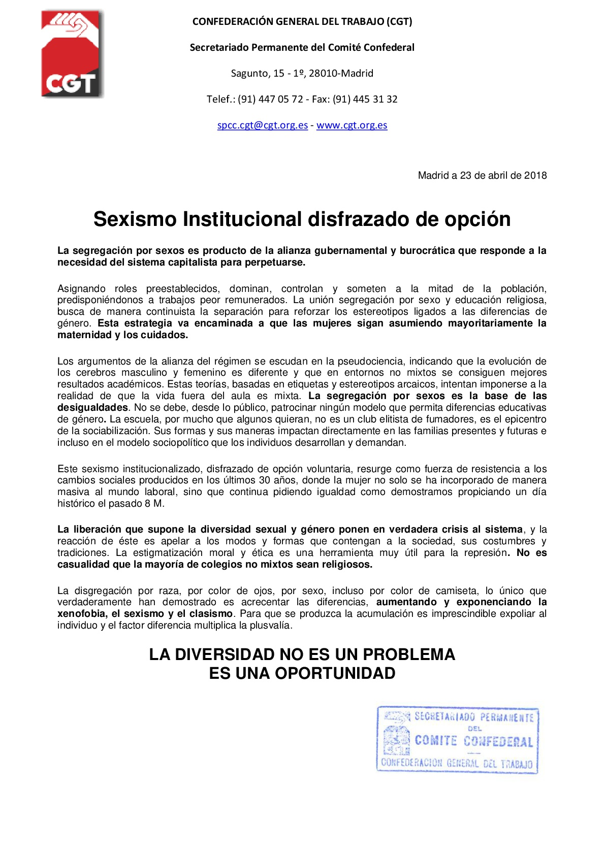 COMUNICADO - Sexismo Institucional disfrazado de opción-001