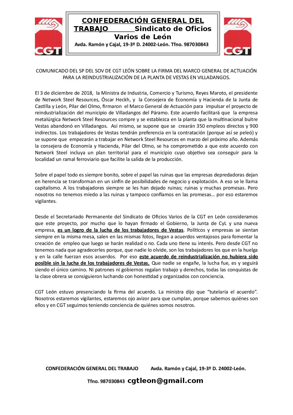 COMUNICADO DEL SP DEL SOV DE CGT EN LEÓN SOBRE ACUERDO DE REINDUSTRIALIZACIÓN DE LA PLANTA DE VESTAS EN VILLADANGOS-001