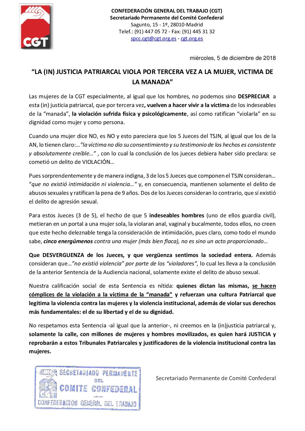 Comunicado sentencia de La Manada-001