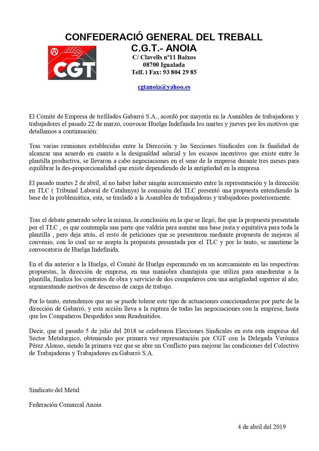 Comunicado Huelga Indefinida Gabarró S.A;_page-0001